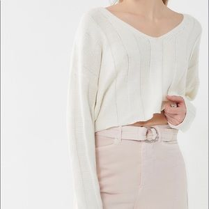 Urban Outfitters Sweaters - Urban Outfitters Cropped White Slouchy Sweater